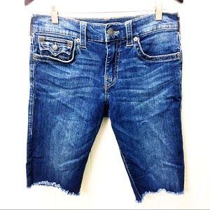 True Religion Cut Off Bermuda Jeans Shorts Flap 31